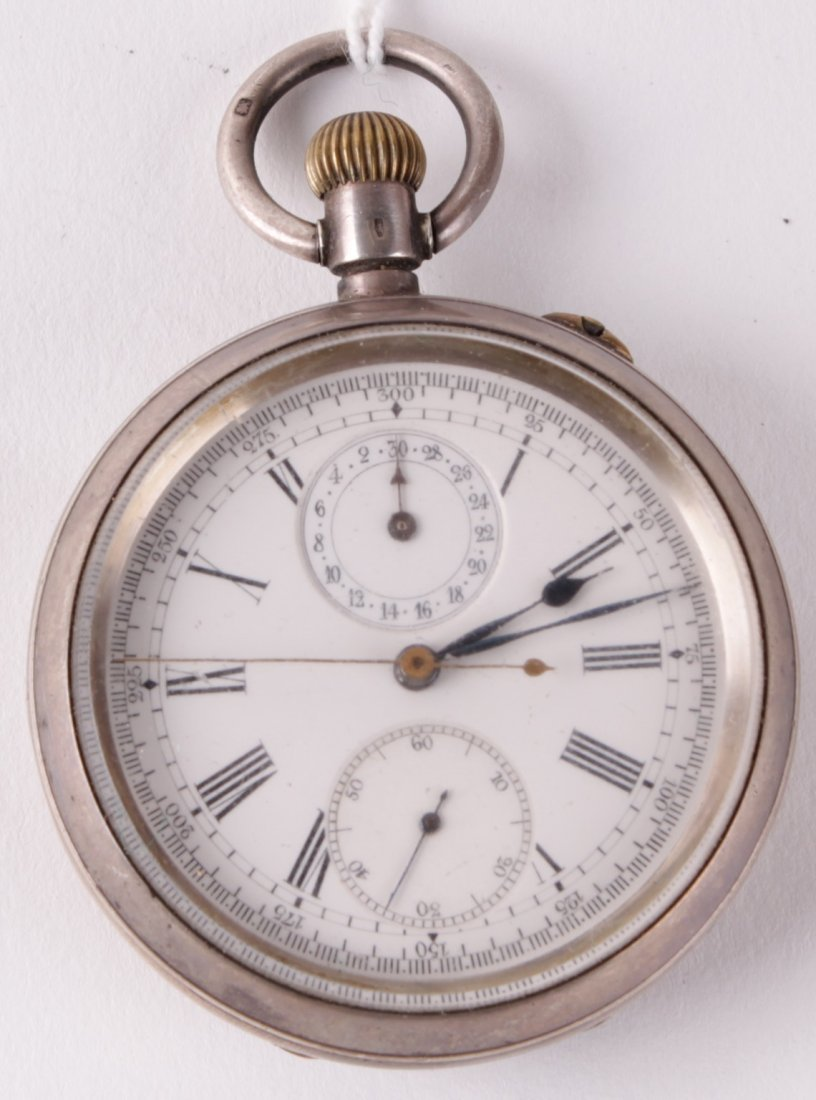 'The Ascot', an open faced pocket watch with stop