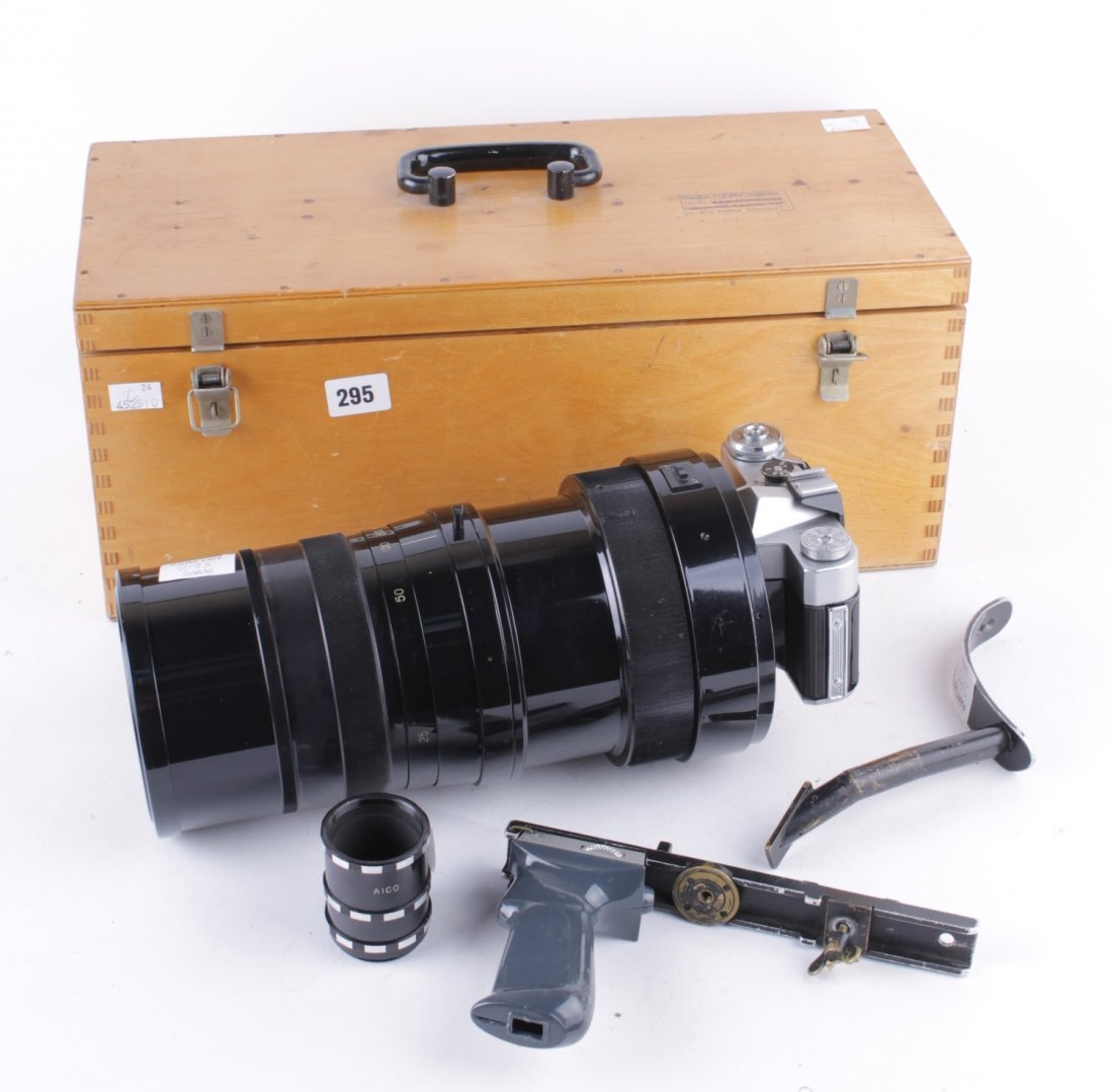 A Zenit B camera with a U.S.S.R.-made 1:10 f=100cm