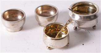 Russian silver coloured and some gilt salts and sp