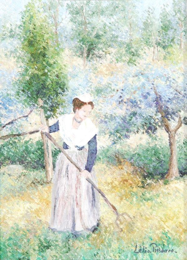 Lélia Pissarro (b.1963) 'Kalia dans son jardin' Oi