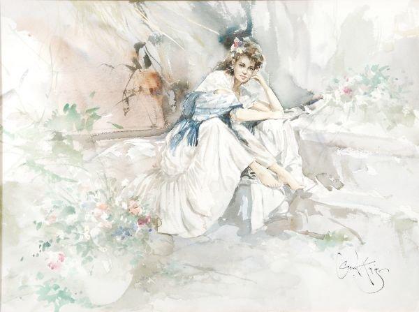 Gordon King (b. 1939) A girl seated amongst flower