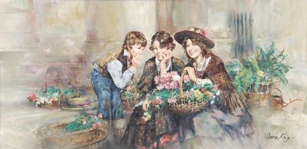 Gordon King (b. 1939) Children selling flowers Oil