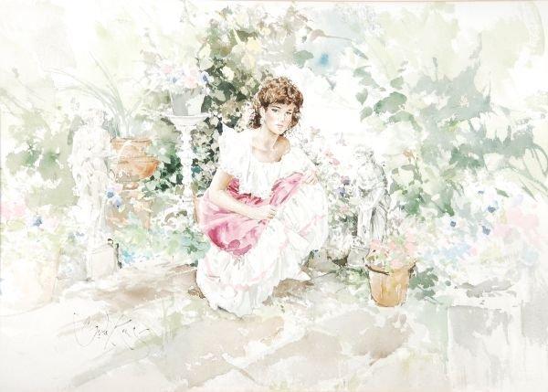Gordon King (b. 1939) A girl crouching among flowe