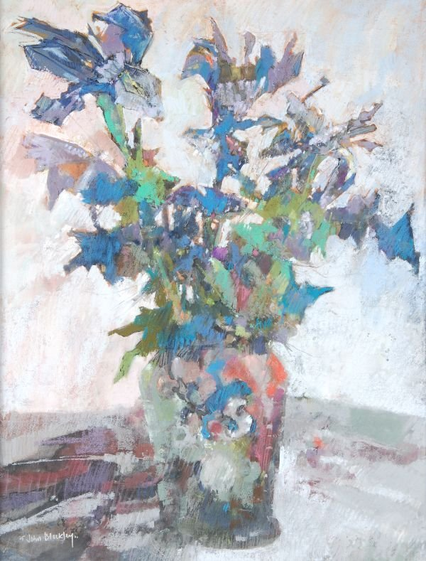 John Blockley (20th century) Irises Pastel Signed