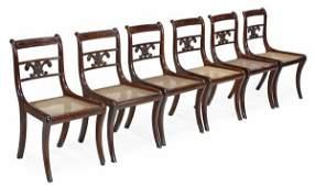 A set of six Regency mahogany dining chairs, circ