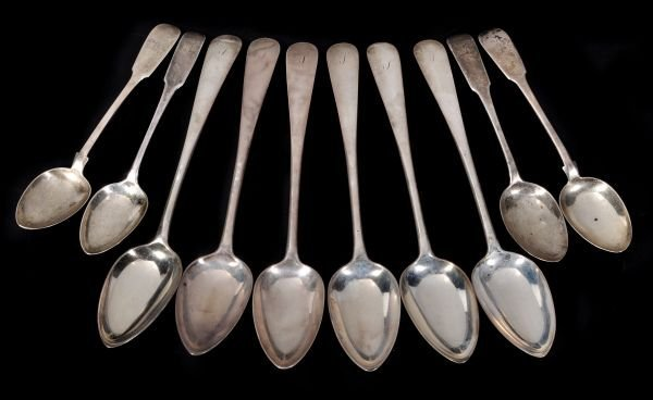 A set of six George III Scottish silver Old Englis