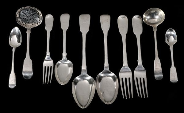 A matched silver fiddle pattern part table service