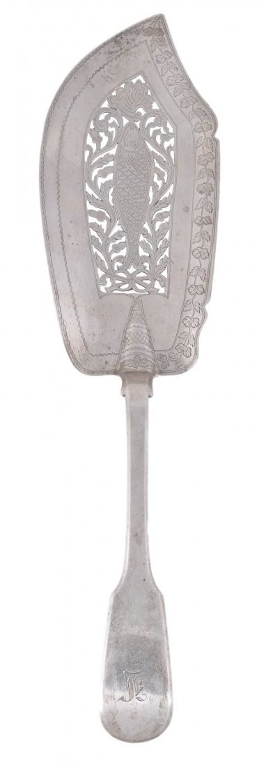 A William IV silver fiddle pattern fish slice by W