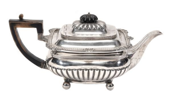 A Victorian silver oblong baluster teapot by Hunt