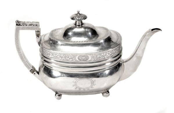 A George III oblong baluster silver teapot,  maker