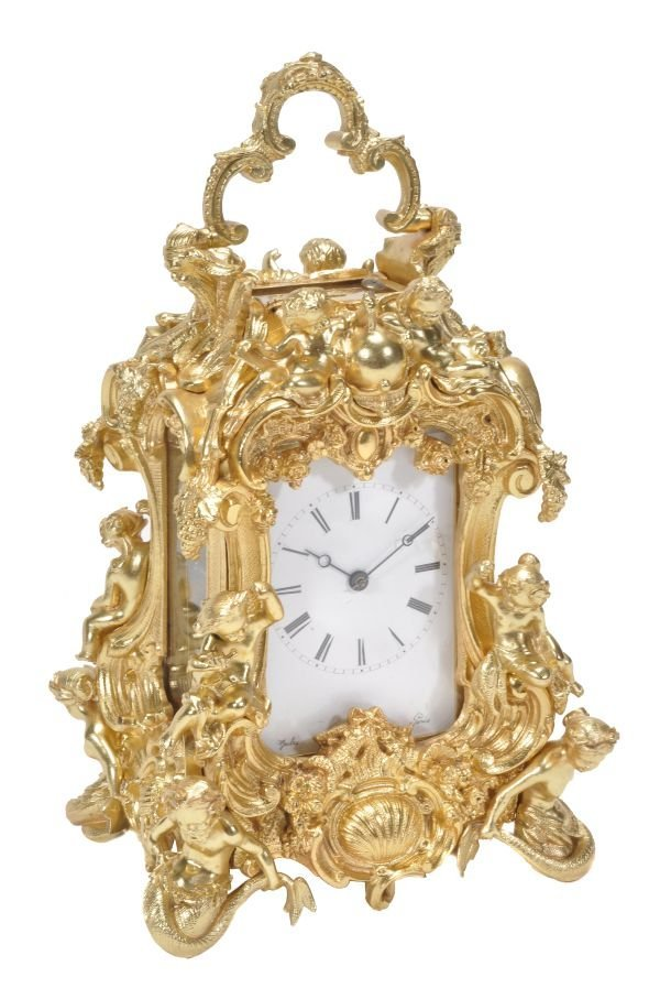 A Fine gilt brass carriage clock with push-button