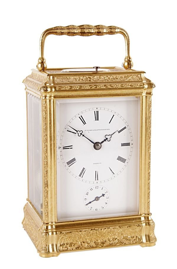 A fine French engraved gilt brass gorge cased ca