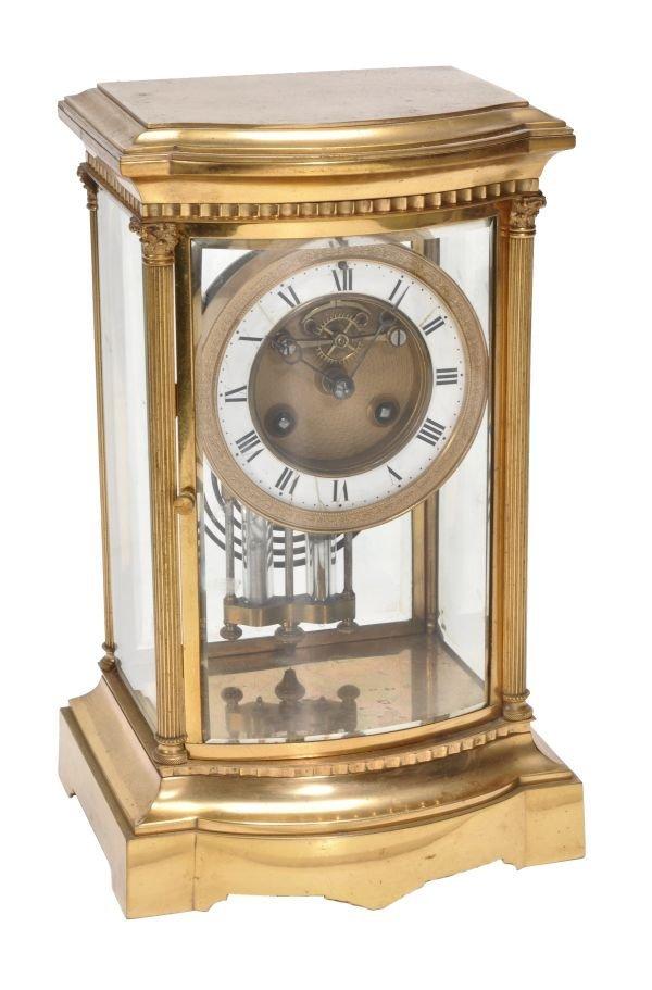 A French gilt brass four-glass mantel clock Samuel