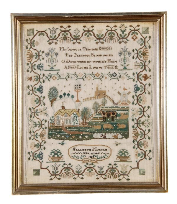 Elizabeth Morgan, a needlework sampler her work 1828,