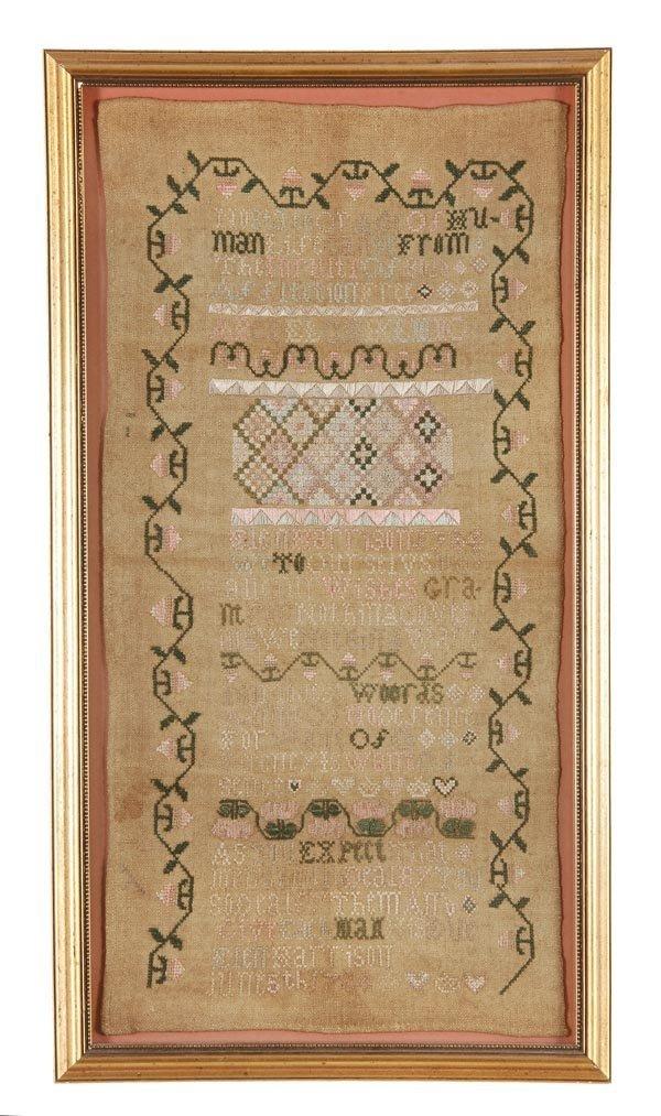 Elen Harrison, June 5th 1784, a needlework sampler,
