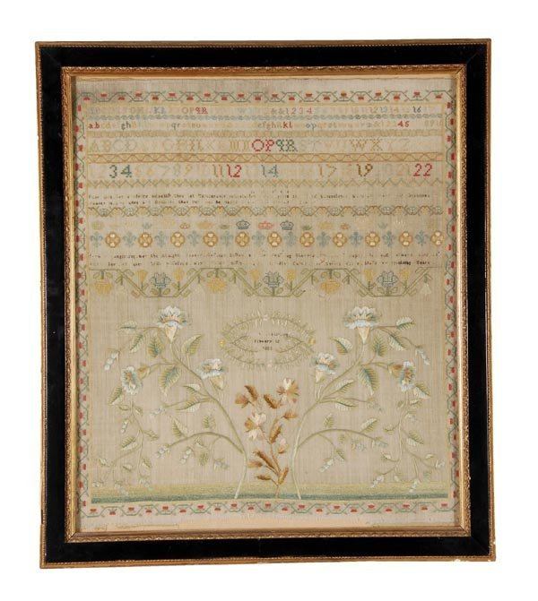 A needlework sampler, January 10th 1803, designed with