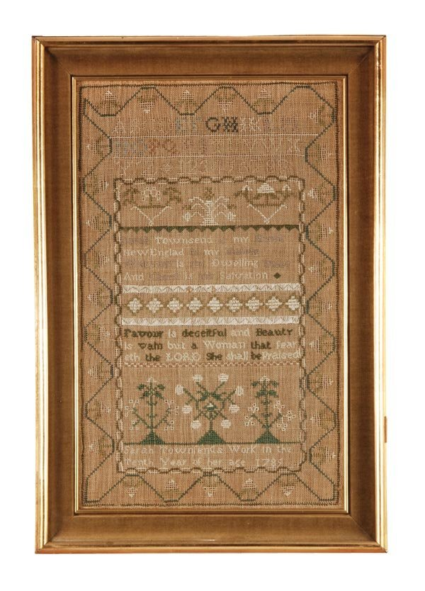 Sarah Townfend, a needlework sampler, worked in the