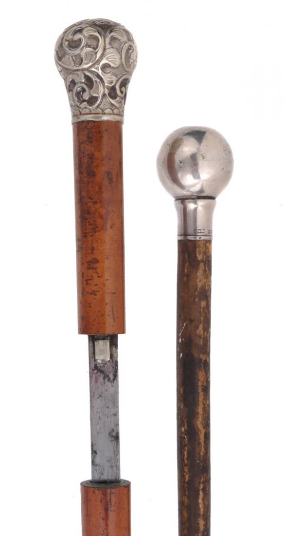 A Victorian white metal mounted malacca sword stick,