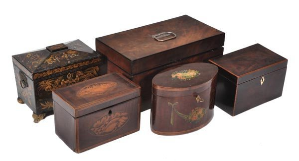 A George IV mahogany and silver mounted tea caddy,