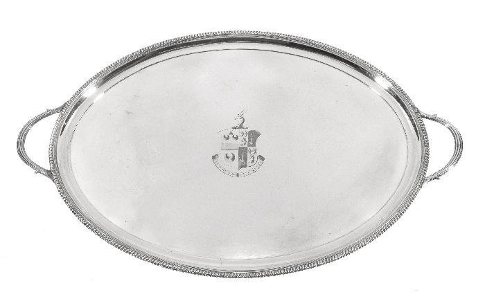 An old Sheffield plate twin handled oval tray,  ci