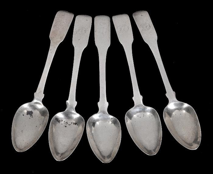 A set of five 19th century silver fiddle pattern t