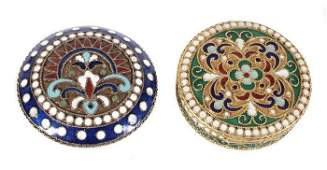 Two Soviet Russian silver coloured and enamel circ