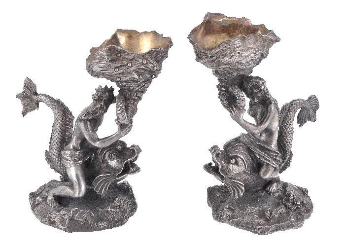 A pair of Victorian electro-plated figural salt ce