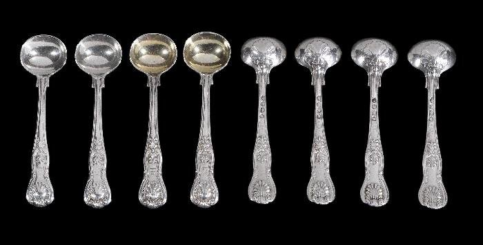 A set of eight William IV silver King's pattern sa