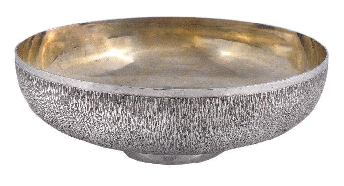 A silver large bowl by Gerald Benney,  London 1976