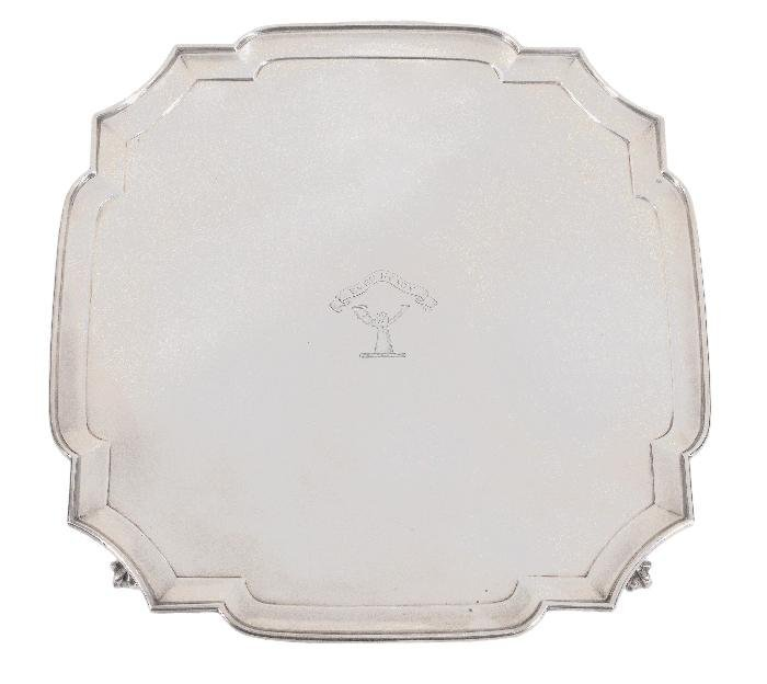 A silver shaped square salver by Edward Barnard
