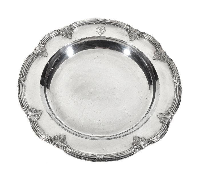 A Victorian silver shaped circular serving dish by