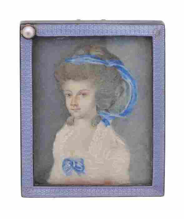 A silver and guilloche enamel rectangular small ph