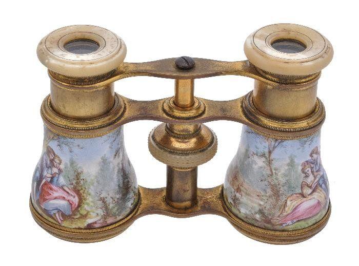 A gilt metal and enamel opera glasses,  circa 1900