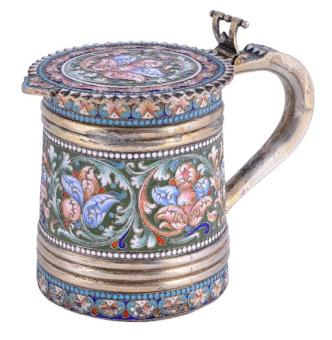 A Russian silver gilt and enamel tankard,  maker's