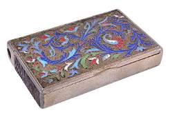 A Russian silver and cloisonne enamel combined cig
