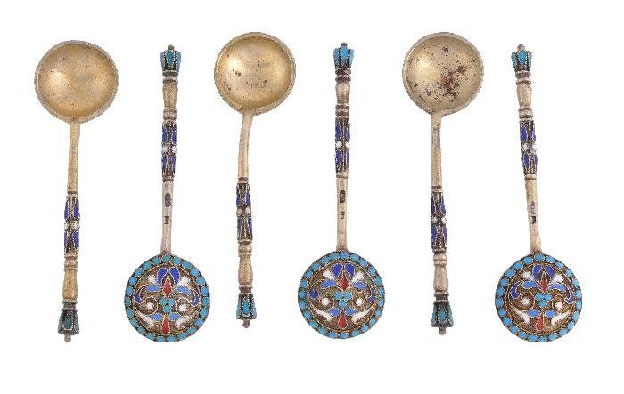 A set of six Russian silver gilt and cloisonne ena
