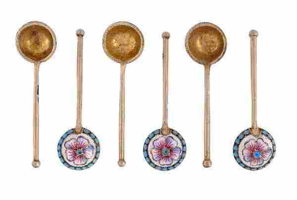 A set of six Russian silver gilt and enamel salt s