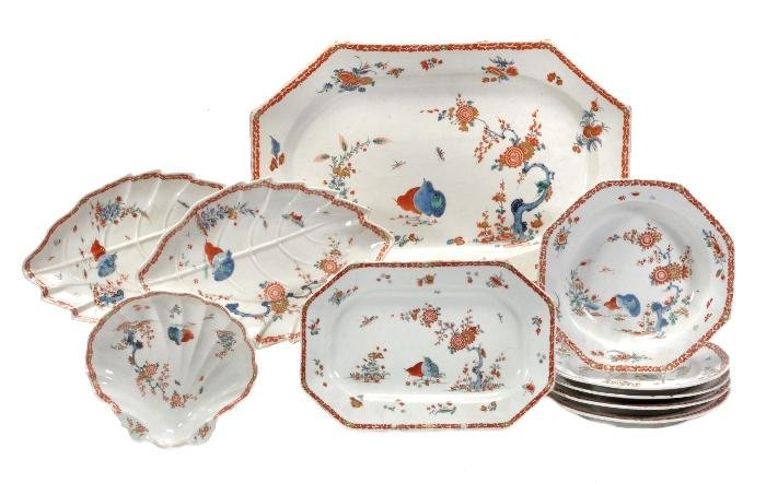 A Bow 'Two Quails' pattern part dinner service,  c