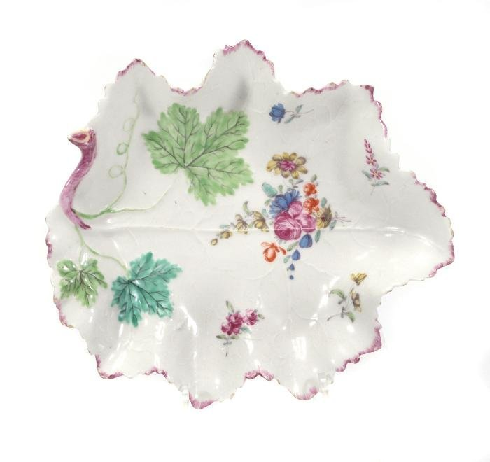 A Bow leaf-shaped dish , moulded with veins and pa
