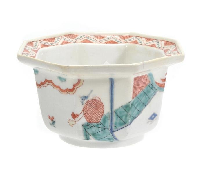 A Chelsea Kakiemon octagonal bowl,  decorated with