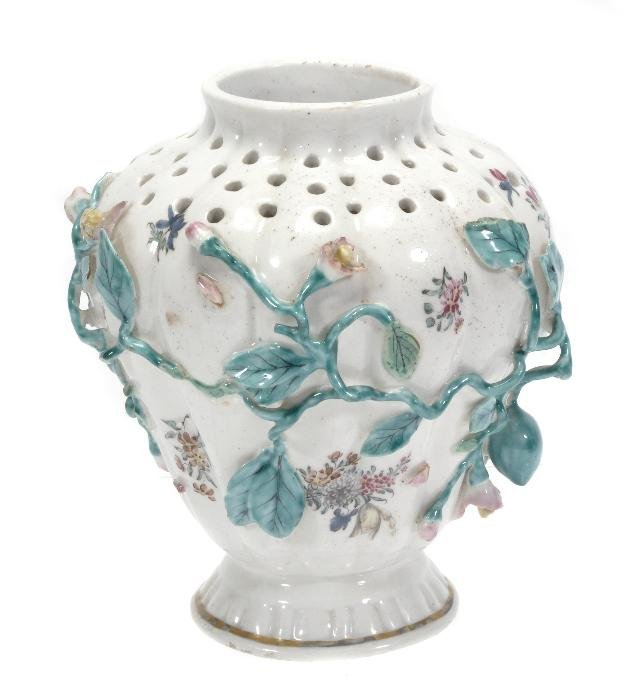 A Chelsea shouldered pot pourri vase of pierced an