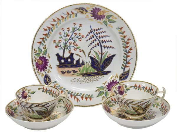 A pair of Derby 'London' shape teacups and saucers