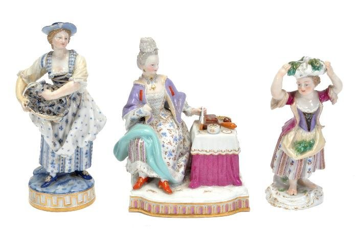 Three Meissen figures,  comprising; a figure emble