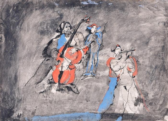 Andre Elbaz (b.1934) Les Alequins Ink and gouache