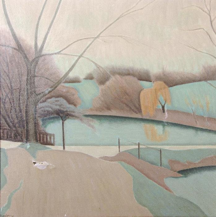 Bryan Senior (b. 1935) Ponds and Willow Oil on can
