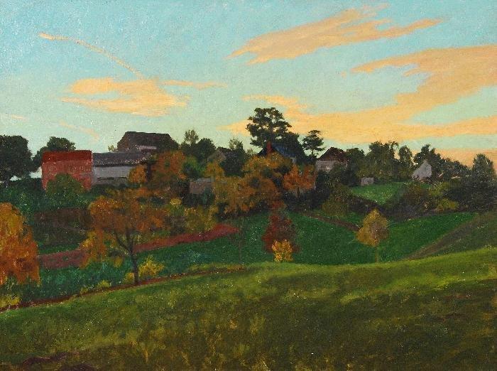 Francis Le Marchant (b.1939) Mayrac, evening Oil o