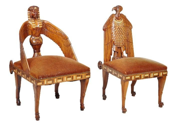 Two Egyptian Revival carved walnut, inlaid and bon