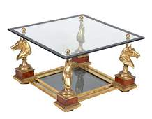 A French brass and glass coffee table, mid 20th c