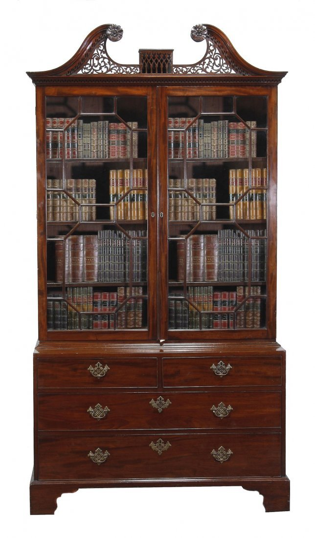 A George III mahogany cabinet on chest, circa 1770