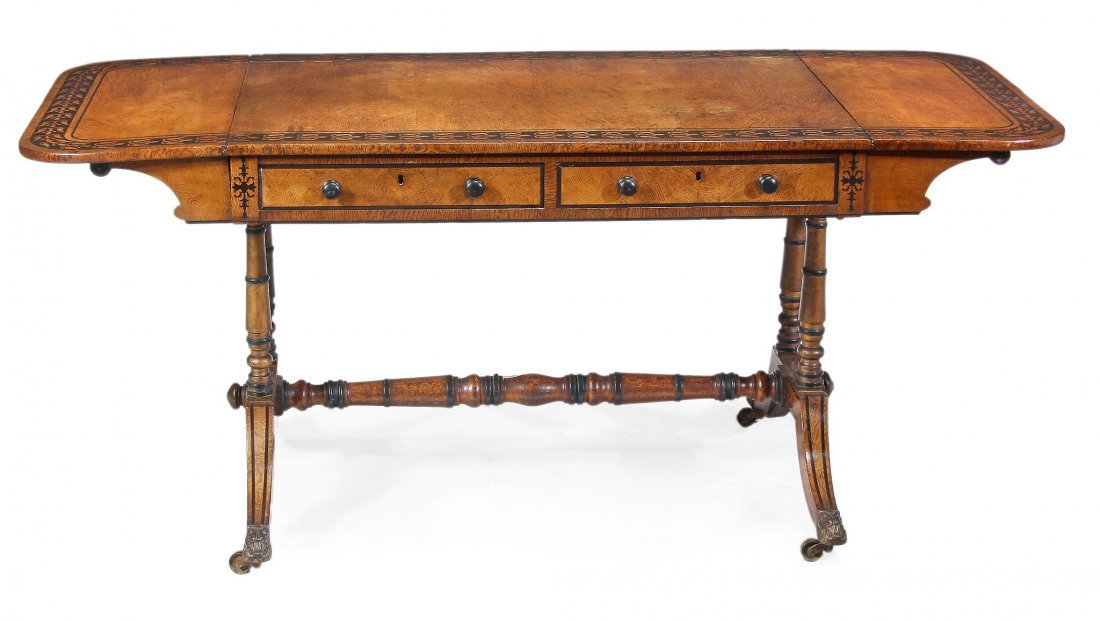 A Regency oak and ebonised marquetry sofa table ,